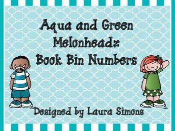 Aqua and Green Melonheadz Book Bin Numbers
