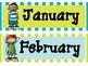 Aqua and Green Melonheadz Calendar Months