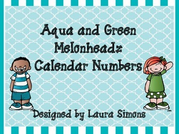 Aqua and Green Melonheadz Calendar Numbers