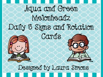 Aqua and Green Melonheadz Daily 5 Posters and Rotation Cards