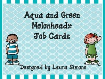Aqua and Green Melonheadz Job Cards Set 1