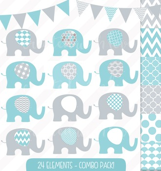 Aqua and Grey Elephant Bunting Combo Clip Art with Digital Papers