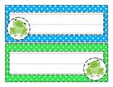 Aqua and Lime Frog Nametags