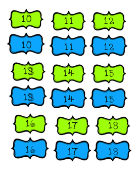 Aqua and Lime Green Numbers