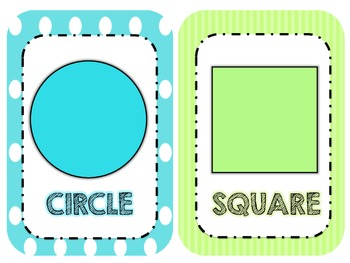 Aqua and Lime Green Shape Wall Cards