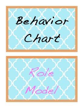 Aqua and Orange Behavior Chart