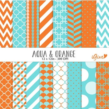 Aqua and Orange Geometrical Papers