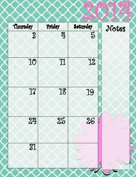 Aqua and Pink Calendar July 2014 - July 2015