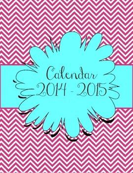 Aqua and Pink Chevron Calendar July 2014 - July 2015
