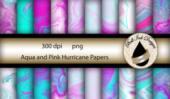 Aqua and Pink Hurricane Papers Clipart