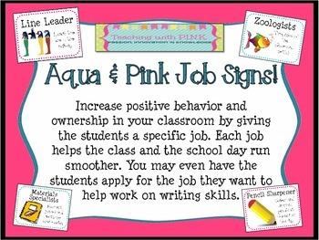 Aqua and Pink Job Signs