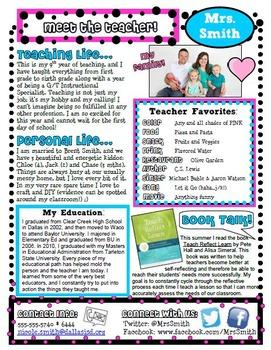Aqua and Pink Meet the Teacher Letter