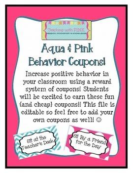 Aqua and Pink Reward Coupons