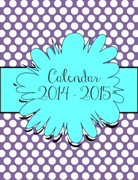 Aqua and Purple Polka Dot Calendar July 2014 - July 2015