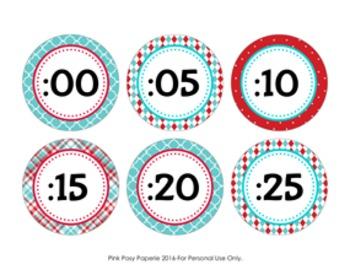 Aqua and Red Clock Number Labels