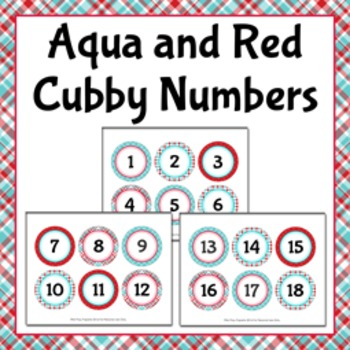 Aqua and Red Cubby Number Labels 1-30