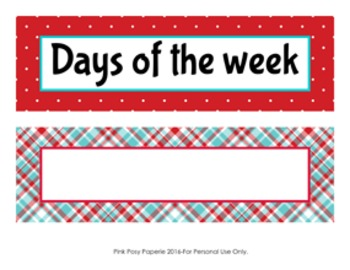 Aqua and Red Days of the Week Calendar Headers