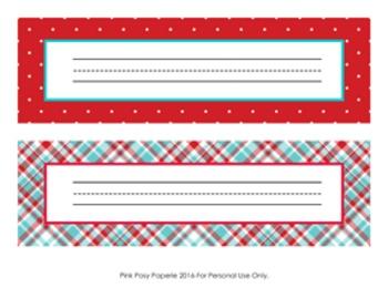Aqua and Red Desk Name Plates