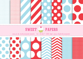 Aqua and Red Digital Paper Pack - by Sweet Papers