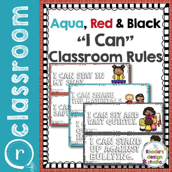 I Can Classroom Rules Poster Set Aqua and Red
