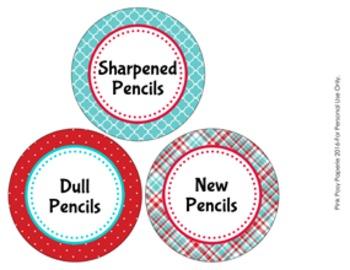 Aqua and Red Pencil Caddy Labels