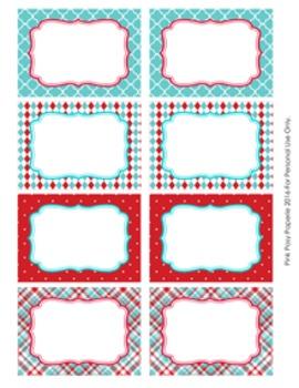 Aqua and Red Theme Classroom Decor Bin Labels
