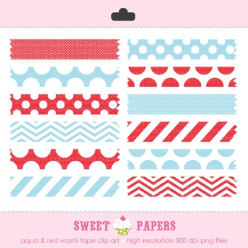 Aqua and Red Washi Tape Digital Clip Art Set - by Sweet Papers
