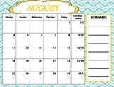 Aqua and Turquoise Chevron Calendar
