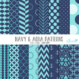 Aqua and navy Digital Papers - Geometrical Backgrounds