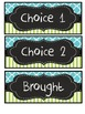 Aqua blue quatrefoil, lime green stripe chalkboard lunch choices student numbers