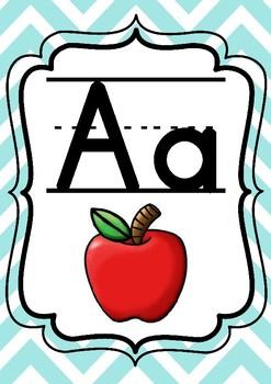 Aqua or Turquoise Chevron Alphabet Posters