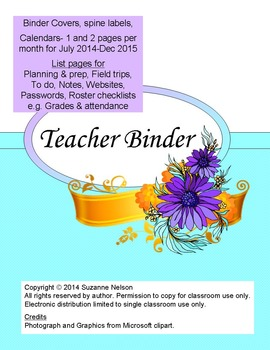 Aqua purple and gold Teacher Binder