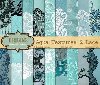 Aqua teal lace digital paper, grunge textures backgrounds