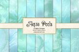 Aqua, teal, turquoise digital paper glitter marble backgrounds