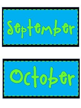 Aqua/Lime Calendar Set