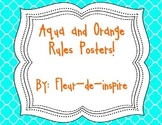 Aqua/Teal and Orange Quatrefoil Classroom Rules Posters
