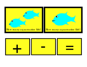 Aquamarine Fish How Many Addition Numbers Up to 10 Flash-Cards Plus Minus Equals