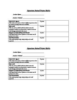 Aquarium Animal Research Project Rubric (Teacher)