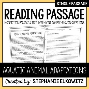 Aquatic Animal Adaptations Reading Passage