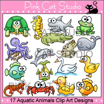 Aquatic Animals Clip Art: turtle, dolphin, octopus, shark, whale, crab, frog