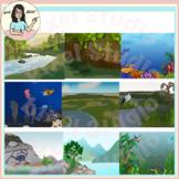Aquatic Biomes Backgrounds Clip Art Estuaries Pelagic Coral Reef Wetlands etc