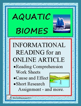 AQUATIC BIOMES Oceans, Lakes, Ponds - Reading Comprehensio