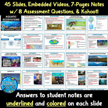 Aquatic Ecosystems Interactive PowerPoint, Guided Notes, & Kahoot! Bundle