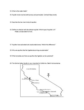 Aquifers Worksheet