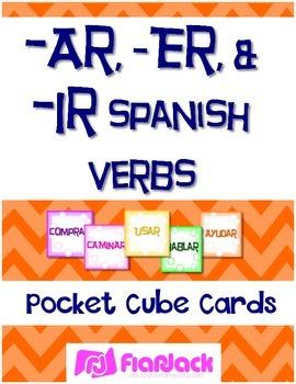 Ar, Er, Ir Spanish Verbs Pocket Cubes FREEBIE