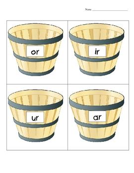 Ar, Ir, Or, Ur Word Sort Center