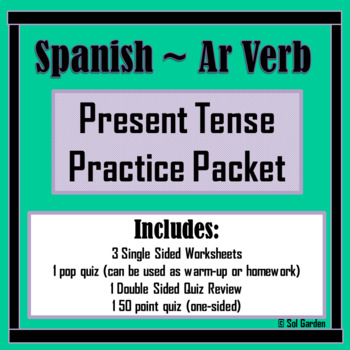 Ar Verb Present Tense Conjugating Practice Worksheets and Quizzes
