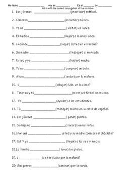 Ar Verb conjugation Practice 1
