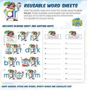 Ar in the Jar's (ar) R-Controlled Vowels Reusable Word Sheets