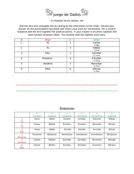 Ar verb dice game and log sheet